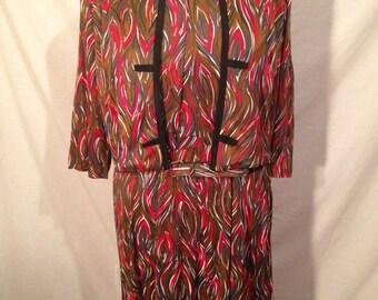 Vintage 3 Piece Multi Colored Swirl Dress Jacket and Belt Sale d31