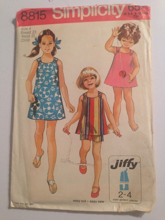 Vintage 70s Simplicity 8815 Sewing Pattern Girls Jiffy Dress or Top and Shorts Size 4 or 8