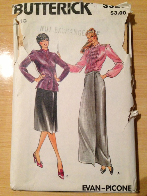 Butterick 3326 Sewing Pattern 80s UNCUT Misses Jacket, Blouse and Skirt by Evan Picone Size 10