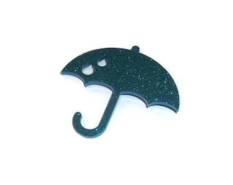 Umbrella Brooch Cute Light Blue Glitter Quirky Kitsch Laser Cut Pin Weather Raining