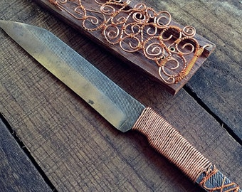Men's or Woman's gift - Hand forged file knife