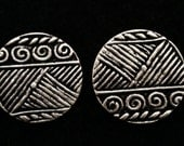 2 Tribal Egyptian Pewter tone, vintage, 20mm metal shank button