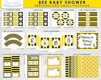 Busy Honey Bumble Bee / What Will it Bee SMALL Baby Shower Party Package | Black & Yellow | Personalized | Printable DIY Digital File