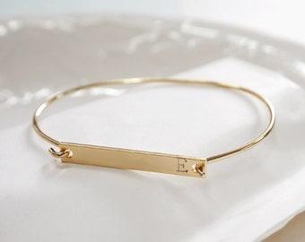 Personalized Bar bracelet, Gold bar bracelet, bridesmaid gift, Personalized Bar bangle