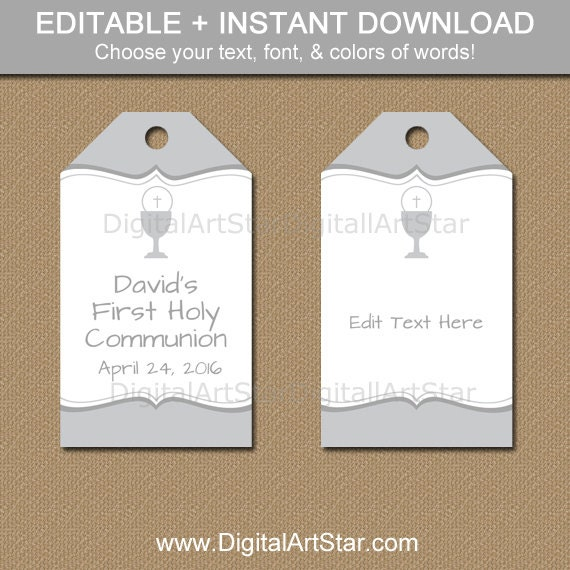 First Communion Party Favor Tags - Printable First Communion Hang ...