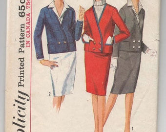 """1960's Simplicity Suit Pattern with attachable Dickey and Cuffs - Bust 32"""" - No. 5595"""