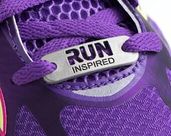 RUN Inspired - Running Shoe Tag, ATHLETE INSPIRED, Run Shoe Charm, Inspirational Shoe Tag, Run Jewelry, Run Gifts, Running Partner Gifts