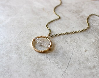 Herkimer Circle Necklace, Herkimer Diamond Necklace, Brass Pendant Necklace