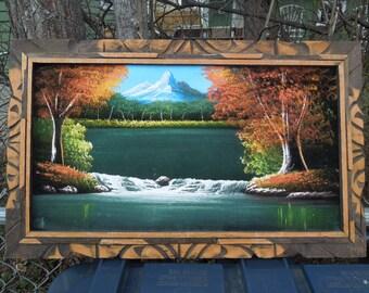 Velvet Painting in Carved Wood Frame Scenic Mountain Water Fall Painted on Velvet
