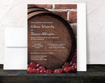 Rustic Wine Barrel Vineyard Wedding Invitations - Country Winery Grapes Brick - Printed Invitations