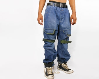 Mens Jeans/ Mens Pants/ Mens Denim/ Vaporwave/ Futuristic Clothing/ Girbaud/ Cyber Ghetto/ Cross Colours/ Fubu/ Baggy Jeans/ 90s Jeans