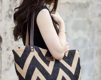 Womens Tote Bag, Large Tote Bag, Leather Tote Bag, Tote Bag, Handmade, Black Chevron