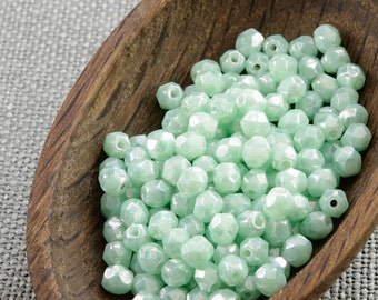 4mm beads 50pc Fire polished beads 4mm Mint green faceted beads Opaque beads Czech beads 4mm round beads glass beads