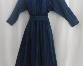 Vintage 80s womens dress, blue green stripe, long sleeve dress, day dress, office dress, dolman sleeves, size 11 12
