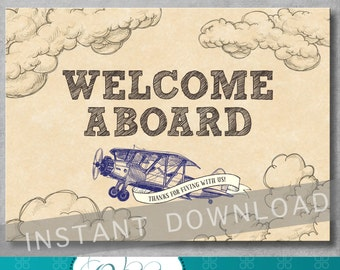 5x7 inches - Welcome Sign - Vintage Airplane Baby Shower - Birthday - Baby Boy - Blue - Decoration - Digital - Printable - INSTANT DOWNLOAD