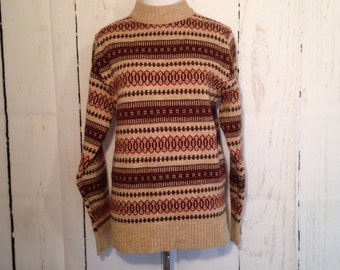 Vintage 70s Sweater - unisex - warm winter jumper - pullover - Southwestern - brown and tan