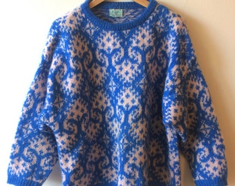 Benneton Blue and Light Pink Mohair Fair Isle Sweater Made in Italy Women's Oversized