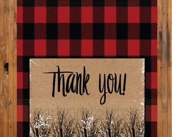 Baby, It's Cold Outside thank you card - Winter Shower thank you - Rustic - Snowy Trees - Snow - Buffalo Check - Plaid - Item 0278