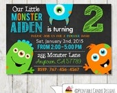 Monster Birthday Invitation - Little monster Birthday - Chalboard Monster invitation - Monster Bash Party - DIY Custom Printable