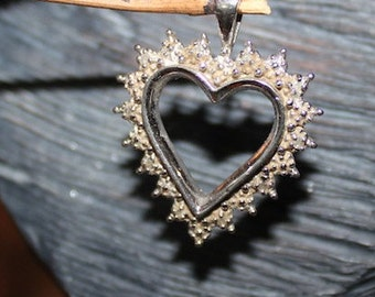Heart Shaped Diamond Pendant Sterling Silver
