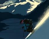 Retro Revelstoke ski print / poster/ illustration  11x17