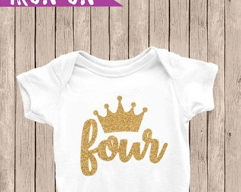 Gold Fourth Birthday Outfit, Iron On Decal, 4th Birthday Iron On, Fourth Birthday Outfit, DIY Iron on