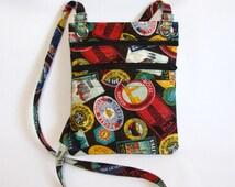 Hip bag- Travel label print cotton