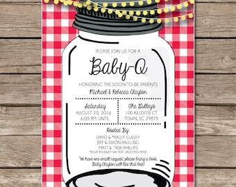 Baby Q Baby Que Baby Shower Invitation New Baby Digital Or Print Copy Custom Gingham Backyard Barbecue Party Mason Jar Lights Picnic