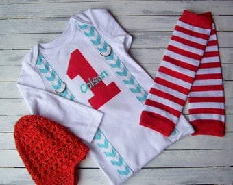 BOY FIRST BIRTHDAY Outfit - Cake Smash Outfit- Baby Boy 1st Birthday -Winter ONEderland - Red Aqua Birthday- Airplane Birthday- Photo Prop