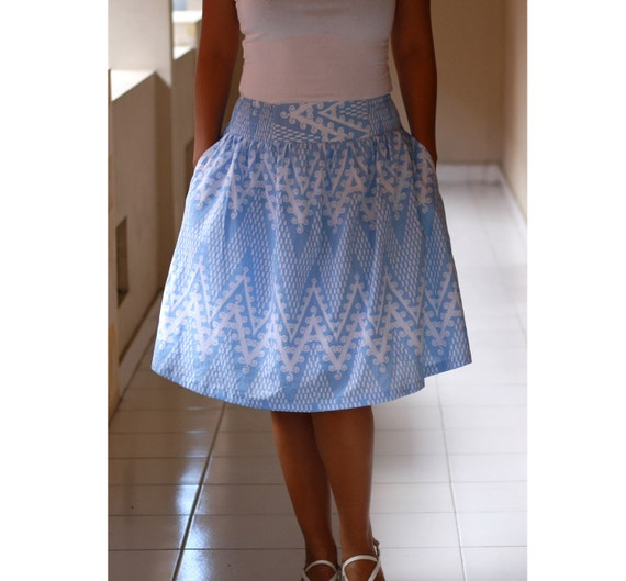 midi skirt ethnic pastel blue and white blue skirts