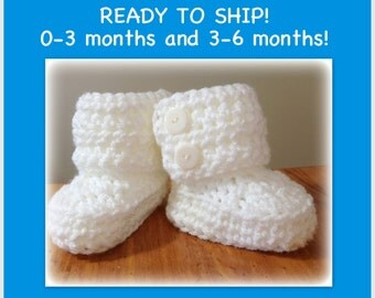 SALE Winter Wrap Baby Boots, READY to SHIP photo prop newborn, 0-3 months, 3-6 months, white baby boots