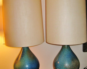 Mid Century modern ceramic volcanic lava drip glaze lamps turqoise blue with matching linen shades vintage original pair