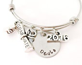 Personalized Graduation Bracelet - Class of 2017 End of the Year Graduation Gift - Custom Hand Stamped Expandable Name Bangle Bracelet