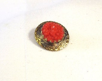 Faux Coral Vintage Brooch - Mid Century Flower Jewelry - Spring Flower Pin