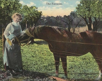 The Favorite - Antique 1910s Woman and Horse Tinted Photo Postcard