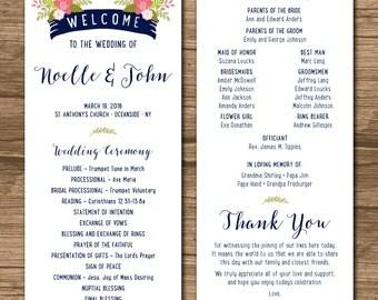 Rustic Wedding Program, Ceremony Program - PRINTABLE files - rustic wedding, garden wedding, beach wedding - Noelle