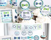 Twin Boys Baby Shower Decorations bow tie lime green navy Printable