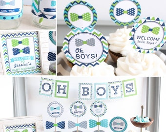 Navy and lime green etsy for Baby shower decoration ideas for twin boys