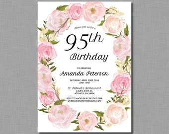 Adult Floral Birthday Party Invitation woman women AP41 Printed or Digital