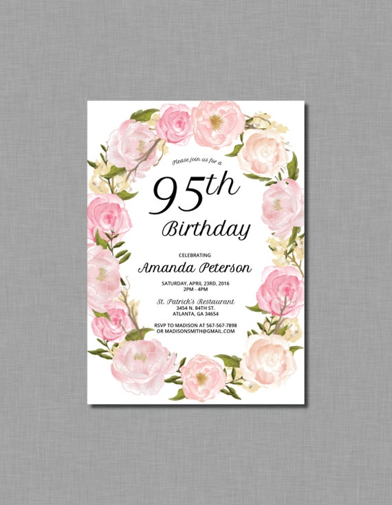 95th Birthday invitations 90th birthday 80th birthday 85th birthday