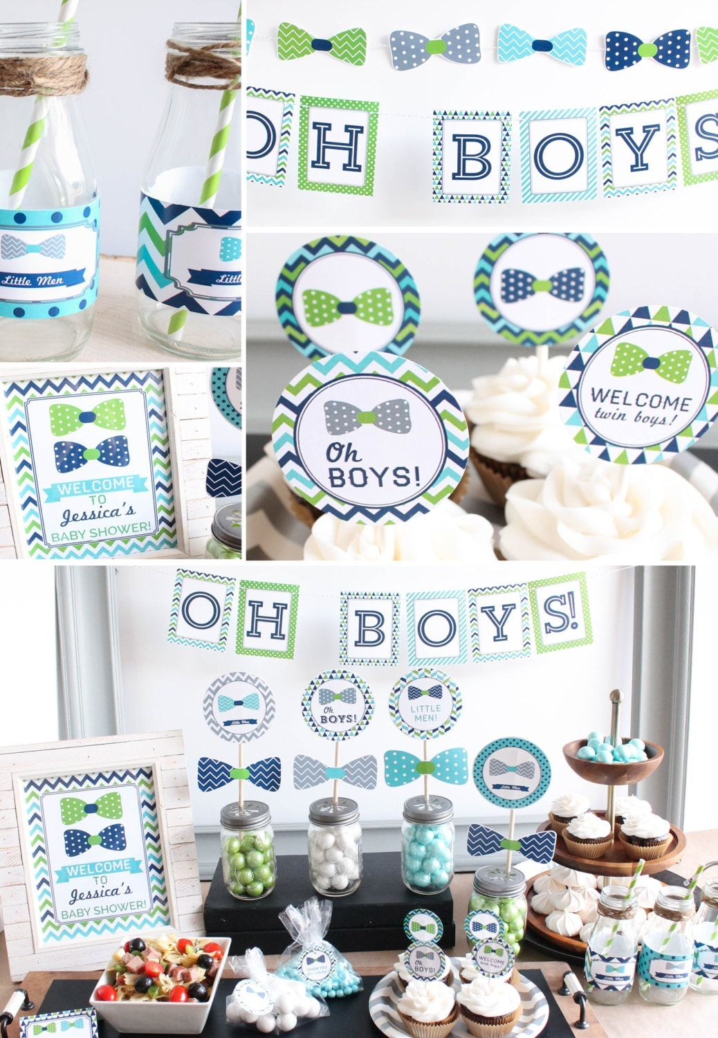 Twin boys baby shower decorations bow tie lime green navy for Baby shower decoration ideas for twin boys