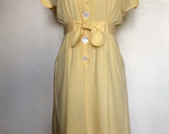 1940's Mellow Yellow Scallop Day Dress M