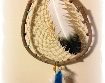 Eagle Feathers Turquoise Garnet Tigers Eye Amethyst Crystal Quartz Natural Willow Dreamcatcher