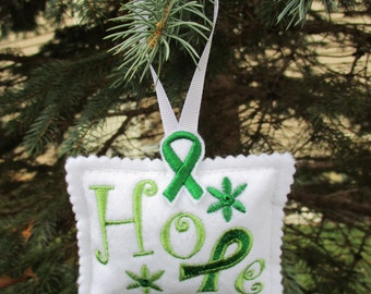 """Liver Cancer Awareness """"Hope"""" Ornament"""