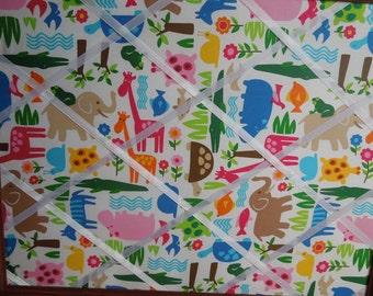 Mod Animal fabric memo board - 16x20 Bright Animals
