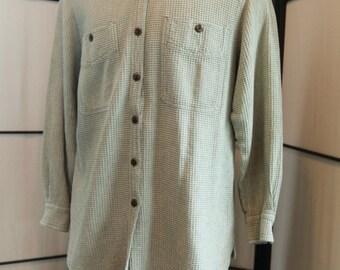 Royal Robbins Seafoam Green Waffle Weave Cotton Button Front Sz L Shirt