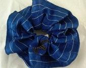 Silk hair scrunchie tie made with vintage indigo blue kimono silk - indigo blue bamboo stripe