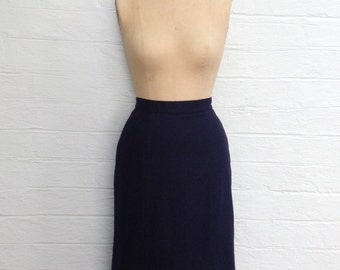 1980s Does 1940s Navy Wool Skirt - Midi with front godets