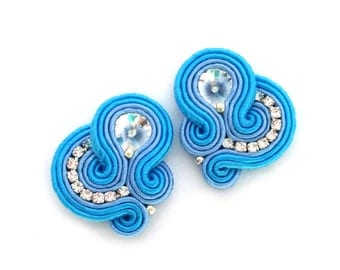 Soutache earrings - statement earrings - clip on earrings - bridesmaids earrings - bridal earrings - something blue earrings - gift for wife