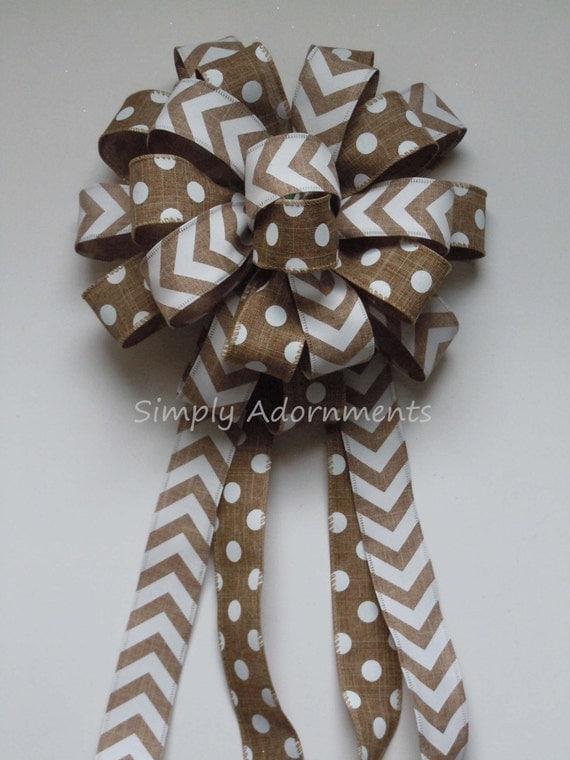 Tan Beige Burlap Bow Chevron Polka dots Bow Burlap Wreath Bow Monogram Door Decoration Bow Tan Beige Chevron Polka Gift Bow